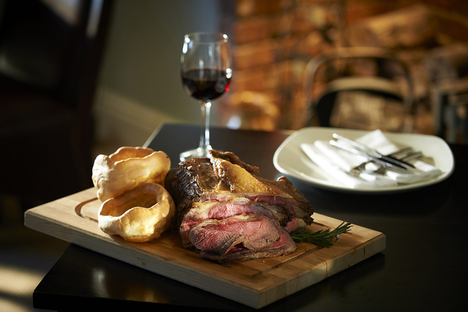 Rare roast rib-eye of beef Sunday lunch