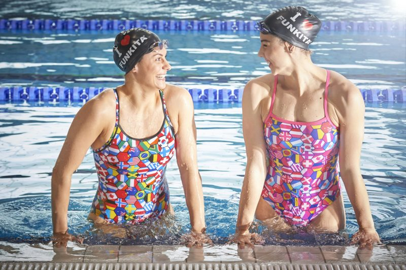 Way Funky swimwear shoot at The National Aquatics Centre, London, UK.